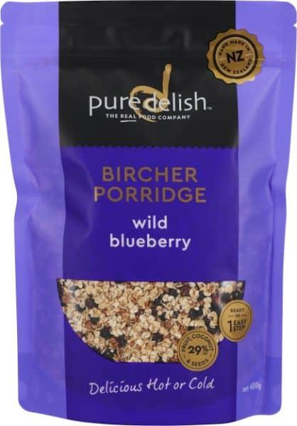wild blueberry bircher porridge